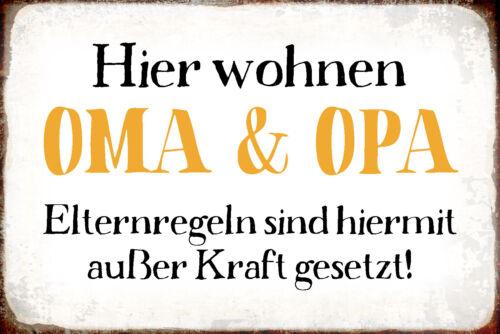 Blechschild Spruch Hier Wohnen Oma /& Opa Metallschild 20x30 Deko tin sign