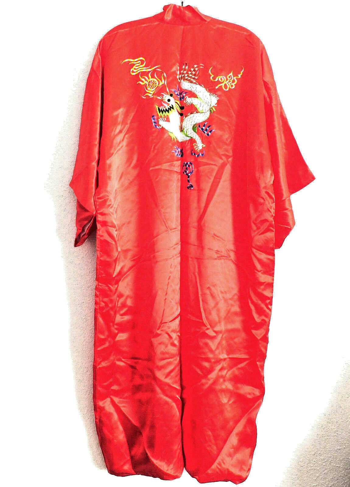 f263d15059cd8 Silk Satin Kimono Robe Embroidered Dragon One Size Lined New Red  nrrxte224-Sleepwear & Robes