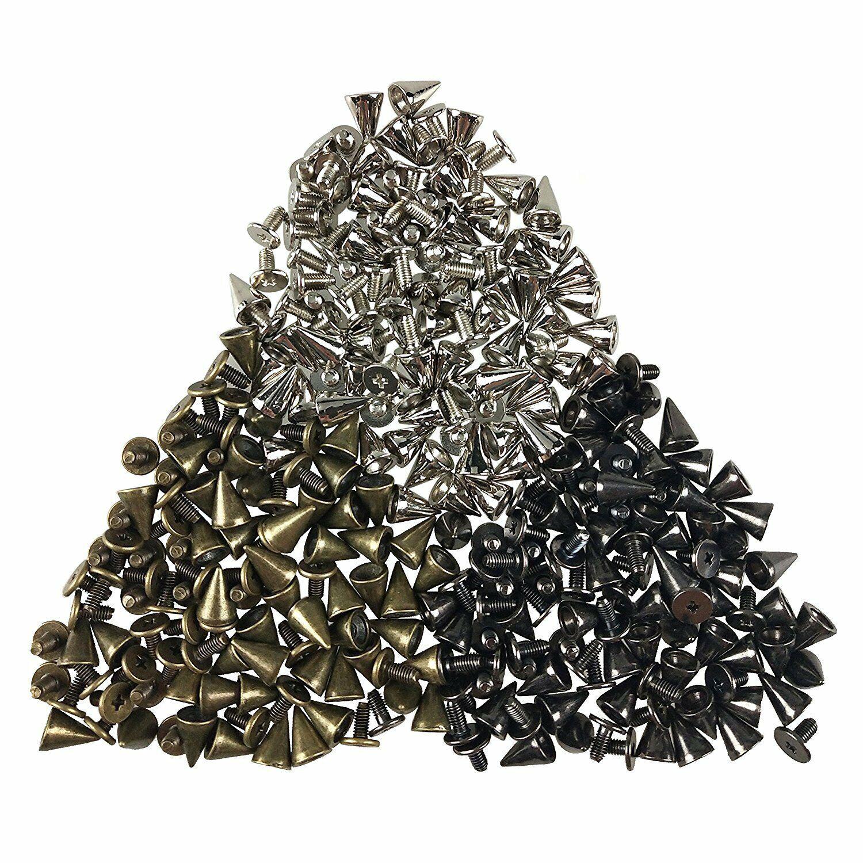 New 100pcs 7x10mm Metal Cone Screwback Spike Stud Punk Bag Leather Craft DIY