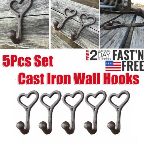 5 Pcs Cast Iron Hooks Love Style Rustic Wall-Mount Coat Hat Hook Hall Tree Decor