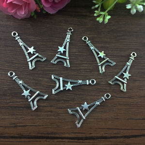 12pcs-Eiffel-Tower-Tibetan-Silver-fit-Pendants-bracelet-beaded-Charms-30x14mm-A1
