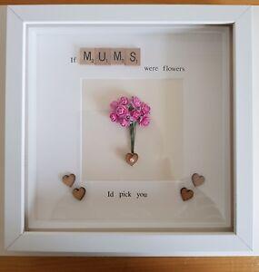 Beautiful Mum Nana Nanny Grandma Quote Frame Flowers Hearts Love
