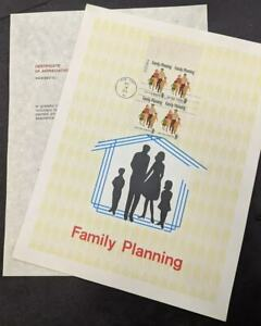 EDW1949SELL-USA-1972-Sc-1455-2-Diff-Family-Planning-Souvenir-pages-Cat-300