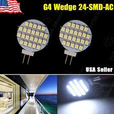 2 x G4 Base Disc Type Side Pin 24 SMD Reading Marine Boat RV LED Light 12V AC/DC