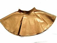 Brown Bronze PV PU full flippy flared circle Spin skater mini Skirt 10 12 S - M