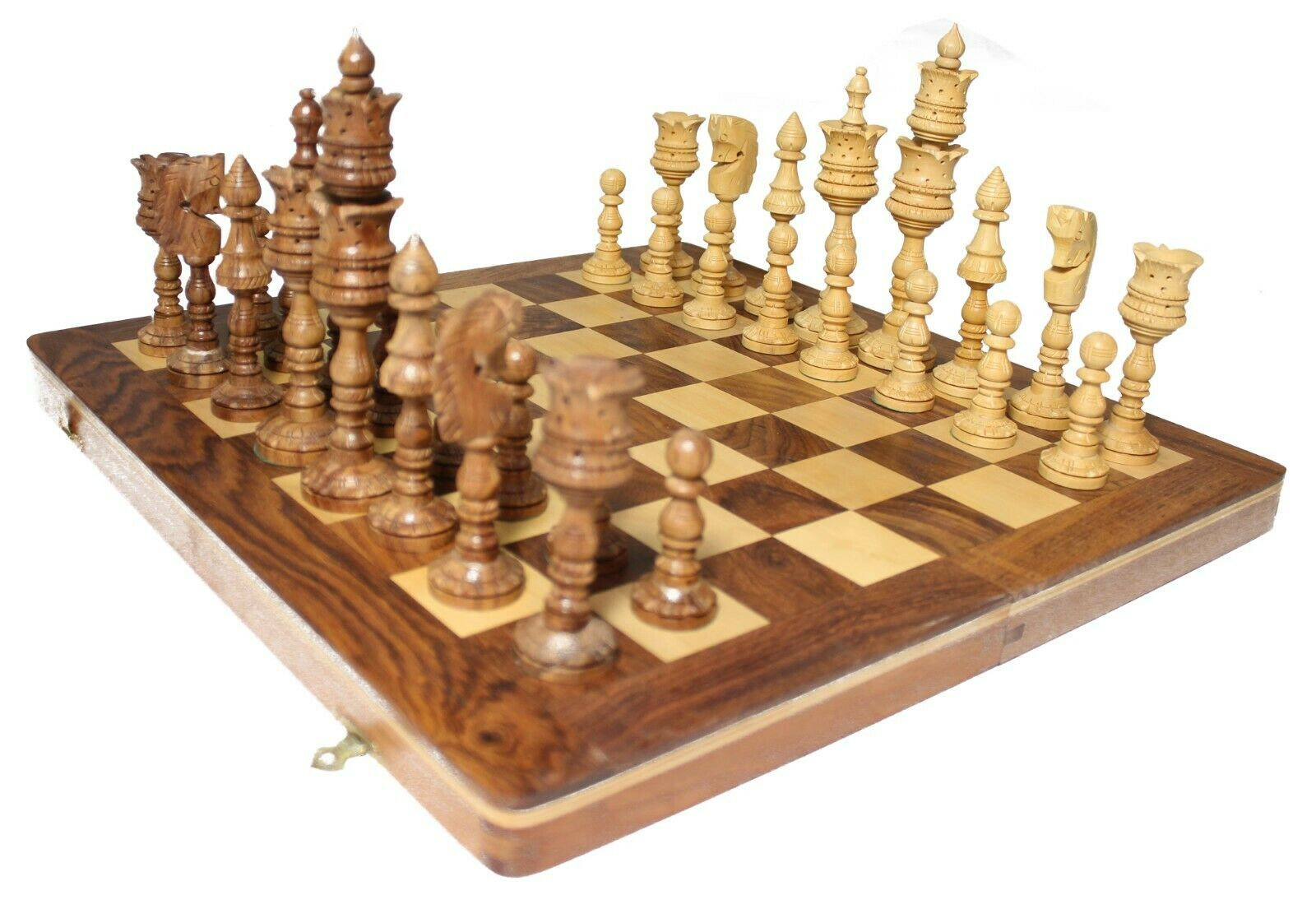 Antique Wooden Hand Made Wooden Luxury 6.5 6.5 6.5 inch-King -Pieces+ Board 16'x16  8e10c8