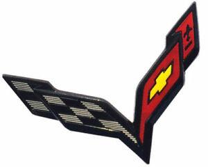 1x  2014-2018 C7 Corvette emblems Front amp Rear Exterior Crossed Flags Chrome