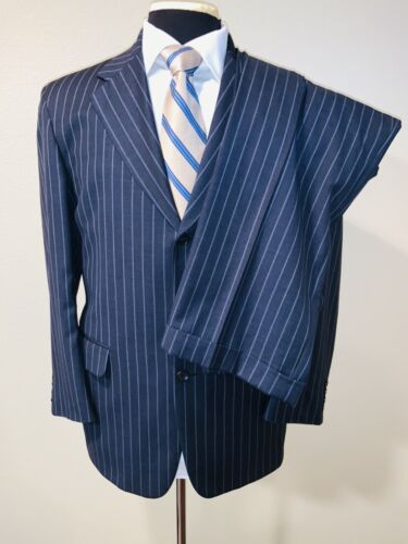 Custom Blue Suit with Blue and Beige Pinstripes S 48R