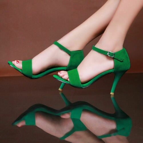 Details about  /Womens Ladies Strappy Stilettos High Heel Sandals Ankle Strap Peep toe Shoes B