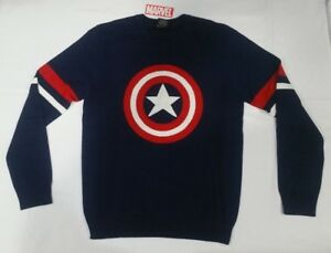 Captain America Shield Marvel Comics Ugly Christmas Sweater Medium