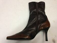 Womens RIVER ISLAND Brown Leather Zip Stiletto Summer Ankle Boots SIz 5 UK 5 38