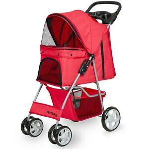 Pet Stroller Cat Dog 4 Wheeler Walk Stroller Travel Folding Carrier Red