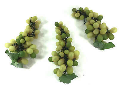Artificial Plastic Green Grapes Bunch Set Of 3 Fruit Kitchen Decor Ebay