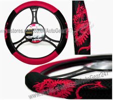 Mesh Look Black Red Dragon Car Steering Quality CarPoint Wheel Cover Glove