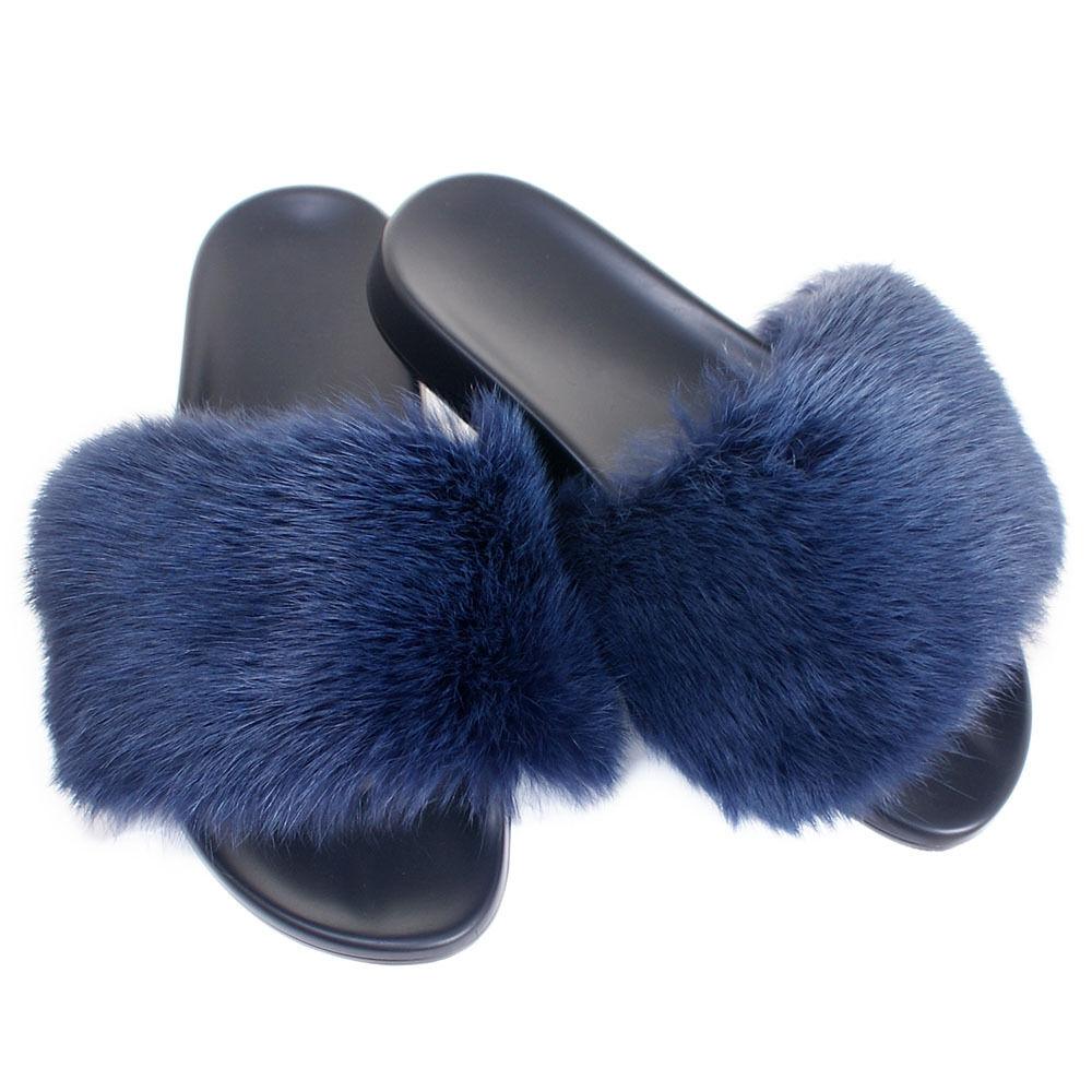 Véritable fourrure de lapin diapositives NEUF  Chaussons Avec Bleu Marine Fourrure Sandales Avec Fourrure Véritable