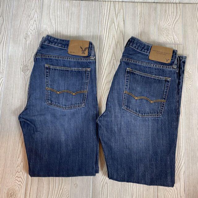2 Pair Mens American Eagle Original Straight Medium Wash Jeans Sz 31x30