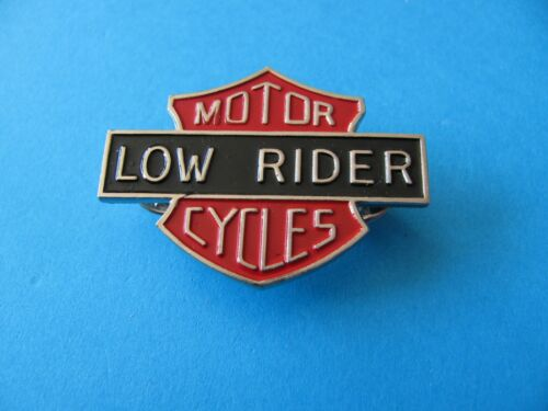 Motor Cycles LOW RIDER pin badge. Enamel .Unused. Harley / Honda. Red Shield.