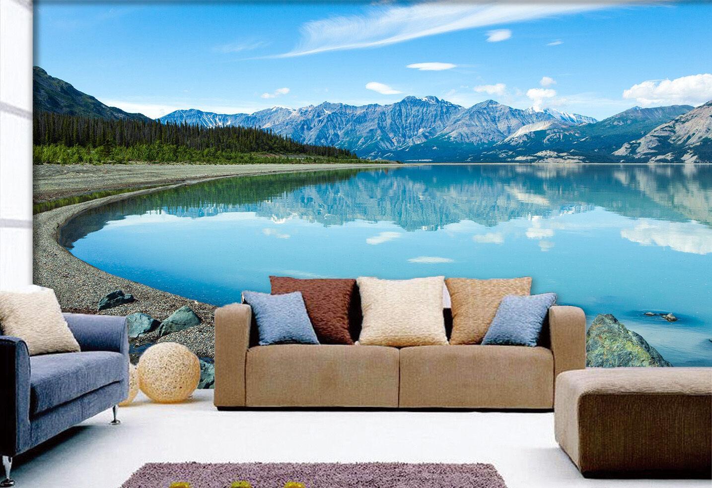 3D Peaceful Lake View 3314 Wallpaper Decal Dercor Home Kids Nursery Mural Home