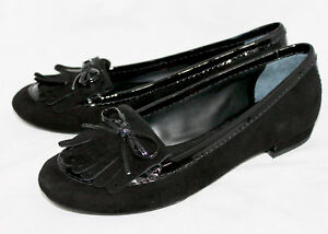 56dd21c72b7 NOWB KATE SPADE Black Suede   Patent Loafer Wo s 7M Bow   Kiltie ...