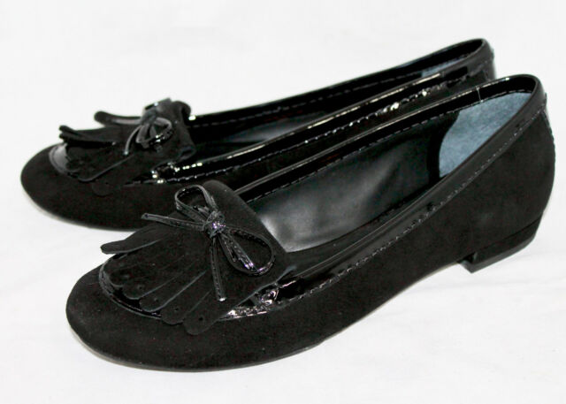 442b5409bafd NOWB KATE SPADE Black Suede   Patent Loafer Wo s 7M Bow   Kiltie Flats  225