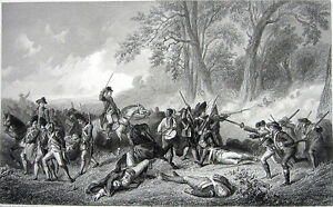 French-amp-Indian-Wars-DEATH-of-GENERAL-BRADDOCK-Old-1859-Art-Print-Engraving