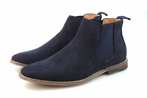 Mens-Navy-Blue-Chelsea-Boots-Suede-Look-Casual-Smart-All-Size-UK-5-6-7-8-9-10-11