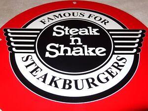 VINTAGE-STEAK-N-SHAKE-11-3-4-034-PORCELAIN-METAL-CHEESEBURGER-SODA-POP-GAS-OIL-SIGN