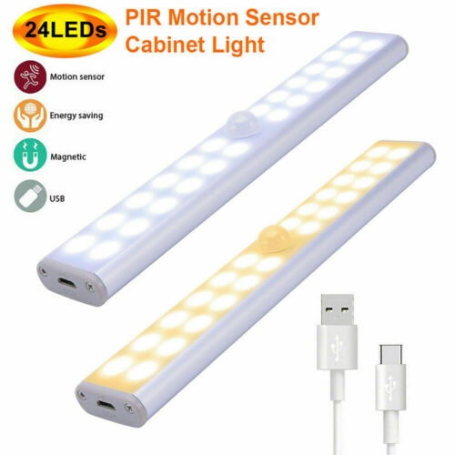 Wireless LED Motion Sensor Movement Detector Under Cabinet Kitchen Wall Lamp New