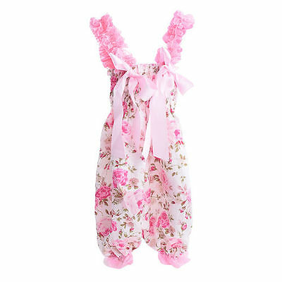 Soft Satin Baby Girls Toddler Kids One Piece Floral Romper Suit Jumpsuit Outfits