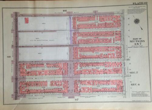 1955 UPPER WEST SIDE MANHATTAN NYC G.W. BROMLEY ATLAS MAP 12X17