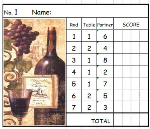 Wine Bottle  2 Table Progressive Bridge Card Tallies Easy To Read New