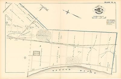Map Of New York Oswego.1880 Gm Hopkins New York Oswego Western Railroad Albany St Elm St Atlas Map Ebay