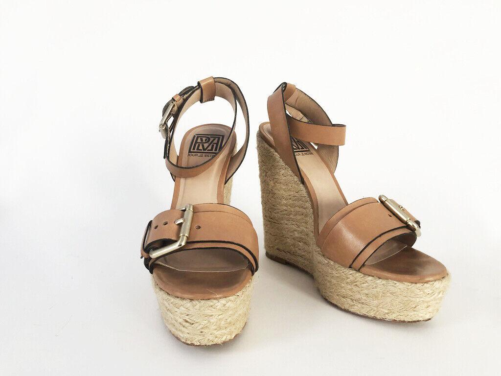 100% nuovo di zecca con qualità originale Pour La La La Victoire Jaclyn Espadrille Wedge Sandal Colore Tan Dimensione 7 Leather Lining  vendita calda