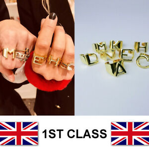Alphabet-Letter-Initial-Personalised-Ring-Brass-Gold-A-to-Z-UK-Seller