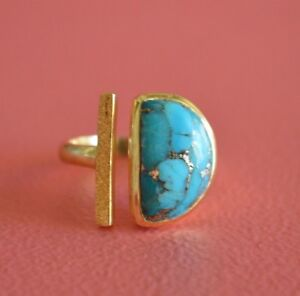 Brass-Plating-18k-Yellow-Gold-Semi-GemStones-Reconstructed-Copper-Turquoise