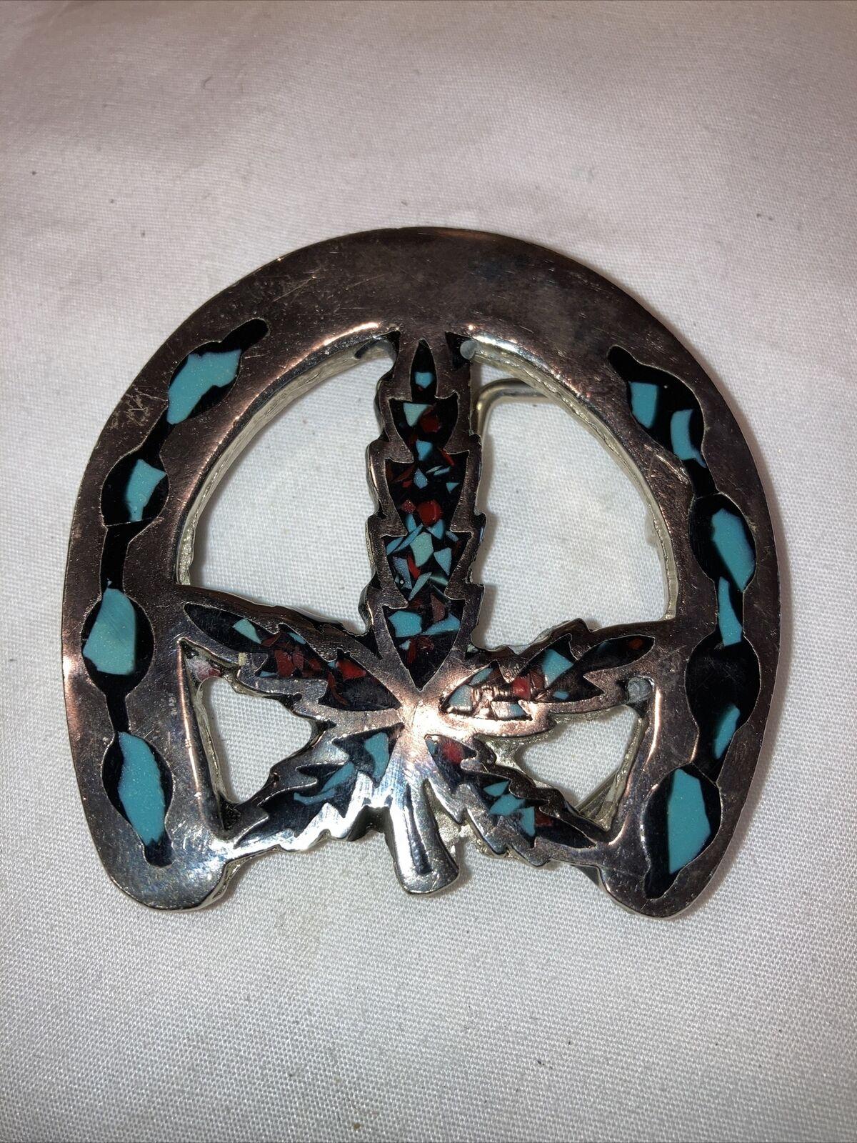 Marijuana Pot Horseshoe Turquoise Chips Hippy Hippie Style Vintage Belt Buckle