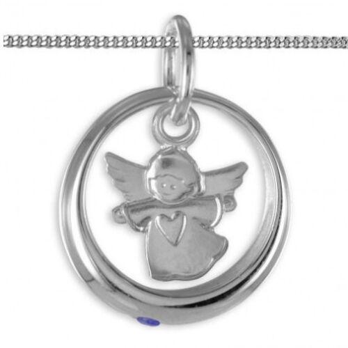 Weiß Gold 333 Baby Taufe Schutzengel mit Herz Taufring Safir mit Silber Kette