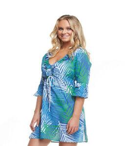 704636c844 Mud Pie Anna Bell Sleeve Palm Beach Print Tunic / Beach Cover ...