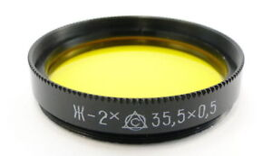 NEW-Russian-Yellow-Y-2x-Lens-Filter-35-5mm-Industar-50-2-Smena-8m-Symbol