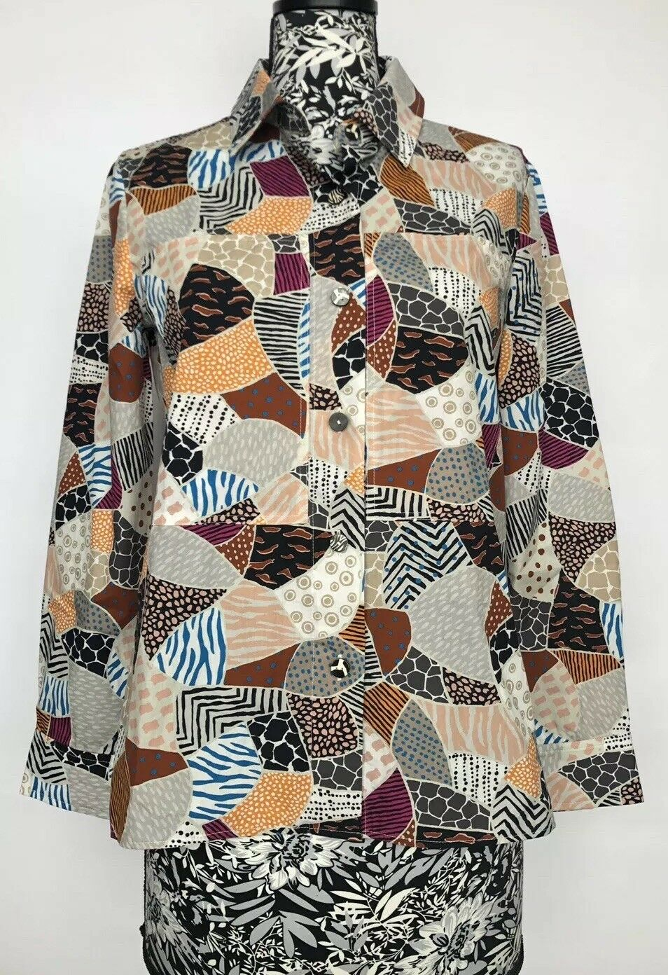 Edun damen Shirt Größe 2 NWT Printed 100% Cotton
