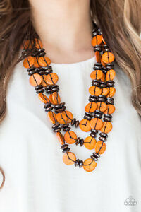 Details About Paparazzi Jewelry Orange Wooden Discs Brown Earthy Beads Necklace W Earrings