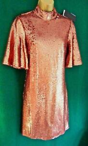 New-FASHION-UNION-8-10-14-Copper-Rose-Gold-Sequin-Party-Evening-Shift-NEXT-Dress