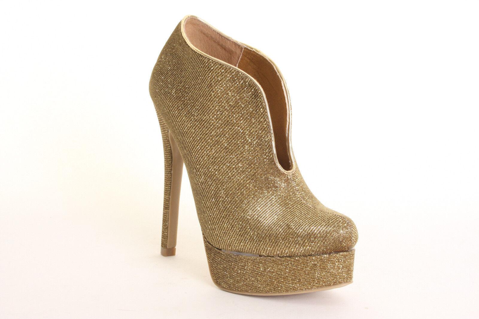 Chinese Laundry Lickety Split Glittery Gold Platform High Heel Ankle Boots 6 NIB