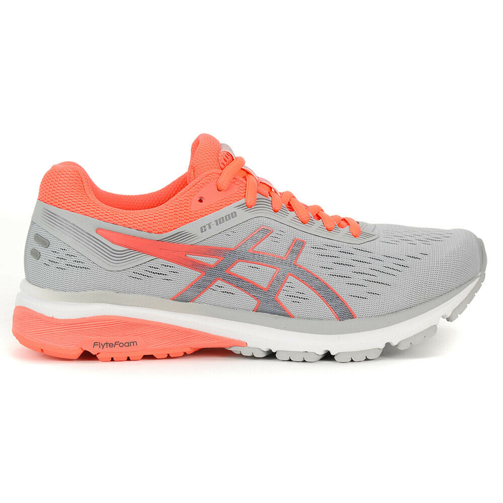 ASICS Women's GT-1000 7 Mid Grey Flash Coral Running shoes 1012A030.021 NEW