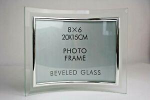Bilderrahmen-Fotorahmen-15x20-gebogen-silber-Glas-Rahmenlos-Milchglasrand