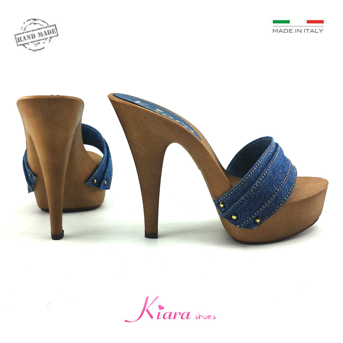 Zuecos Denim - Base Mou - Zapatos Made in Italy 35-36-37-38-39-40-41 - Talón 13