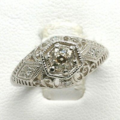 Vintage Miners Cut Diamond Ring 14k white gold Filigree Engagement 1/2 carat