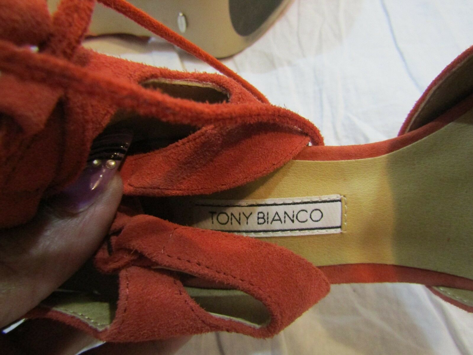 TONY BIANCO Coral Coral Coral Lace-Up Suede Stiletto Heels