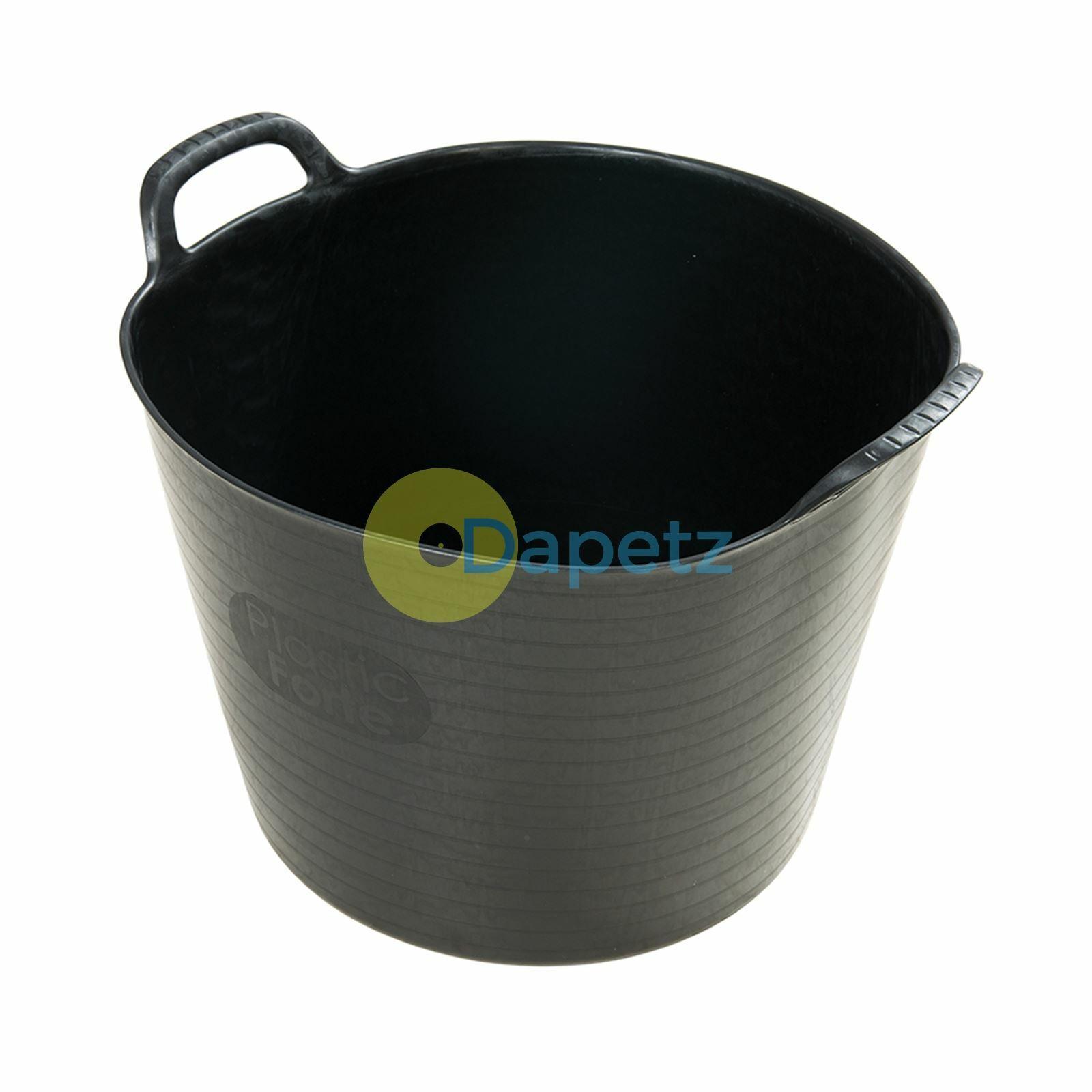 42ltr Grande Flessibile Giardino Tub Trendy Cestino Nero - 10pk