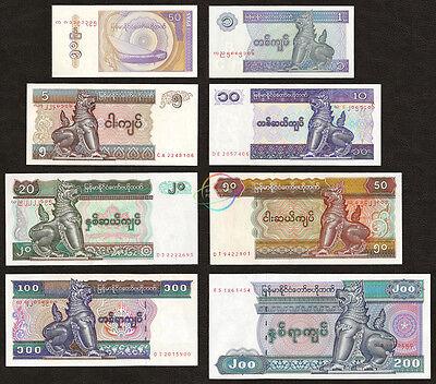 Myanmar Set 6 Pcs 1 5 10 20 50 100 Kyats,P-69~P-74,Uncirculated